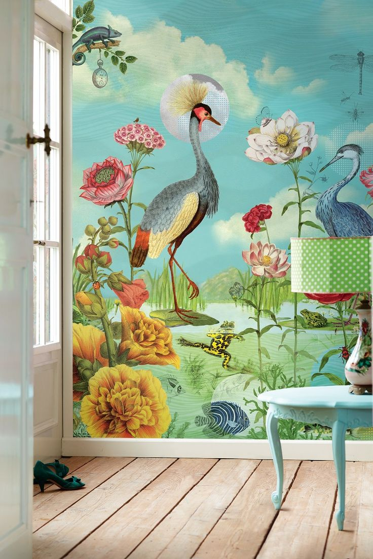 E341099 Wallpaper mural featuring large bird and flowers by Pip Studio for Eijffinger. Designed and made in the Netherlands. Available through selected Guthrie Bowron stores.
