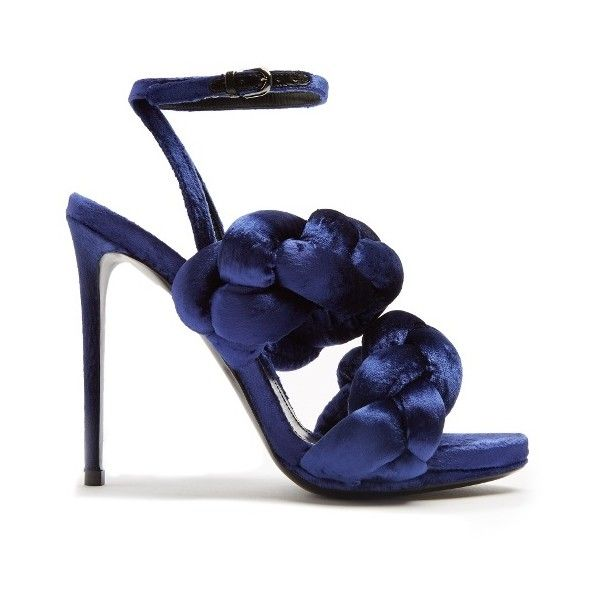 Marco De Vincenzo Plaited velvet sandals ($935) ❤ liked on Polyvore featuring shoes, sandals, navy, high heel stilettos, navy evening sandals, braided sandals, stilettos shoes and navy blue stilettos