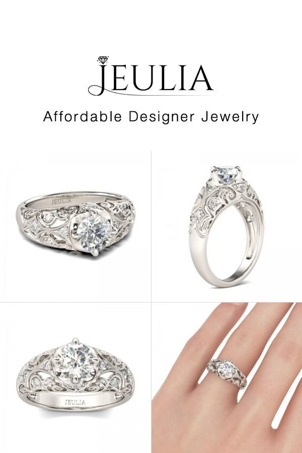 674bc5992a37d3 #Jeulia JEULIA Vintage Filigree Engagement Ring Round Cut Created White .  Discover more stunning Vintage & Art Deco Rings from Jeulia.com. Shop Now!