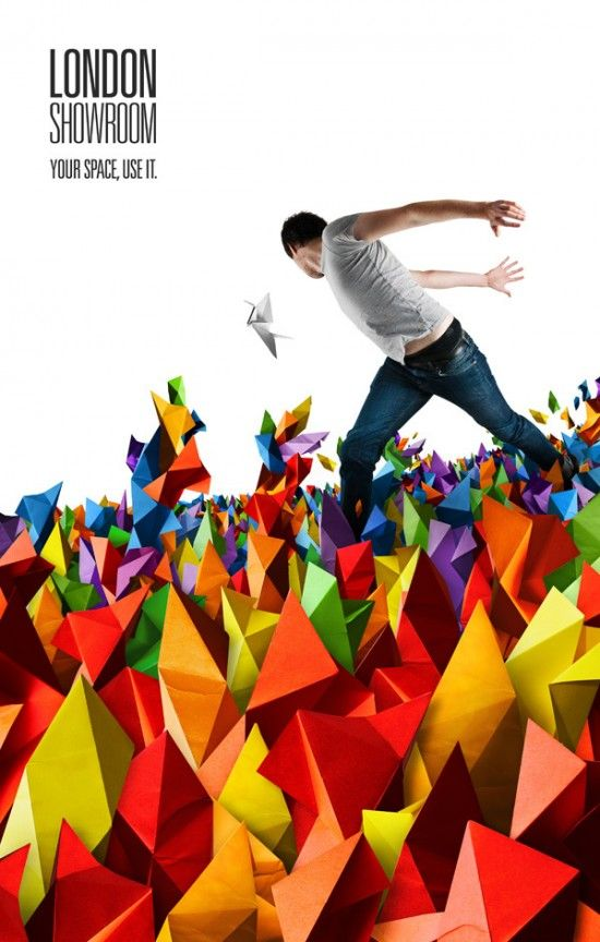 Love the colors!  the sharp edges are a nice contrast to the organic shape of the man, and the white top of the poster balances the massive explosion of color on the bottom