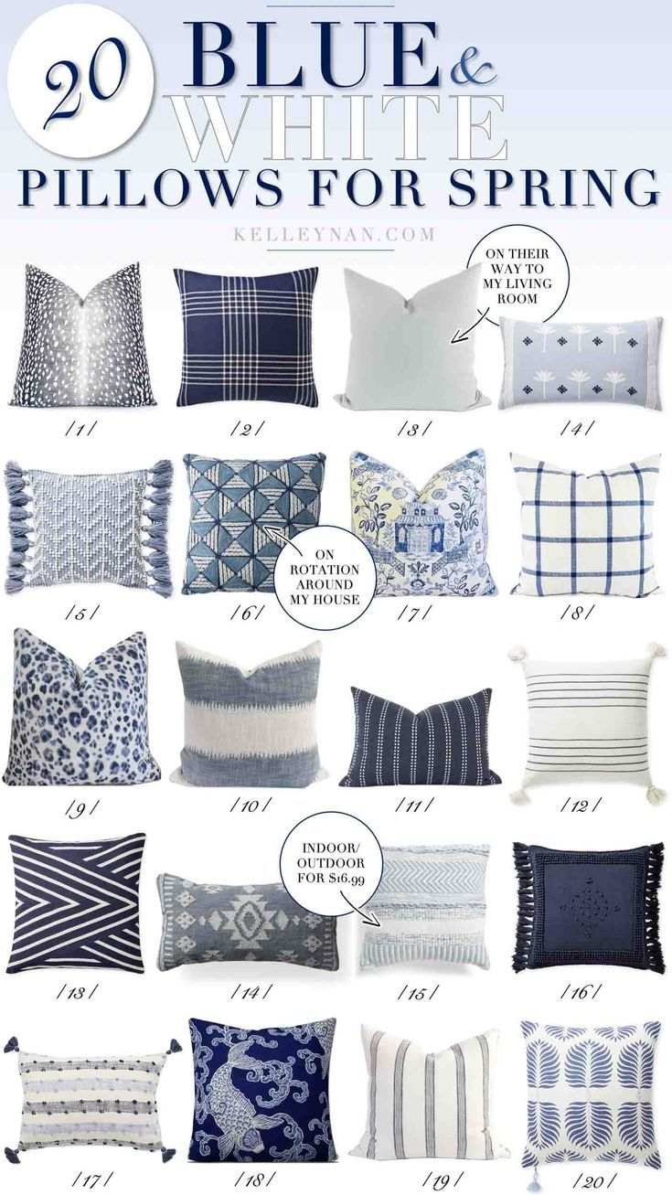 20 Blue And White Pillows You Need To See This Spring Kelley Nan Blue And White Pillows Throw Pillows Bedroom Blue Throw Pillows Throw pillows for bed decorating