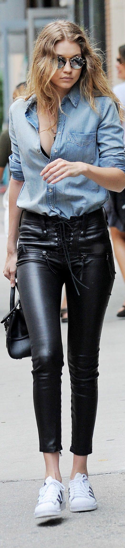 Gigi Hadid denim shirt and leather pants