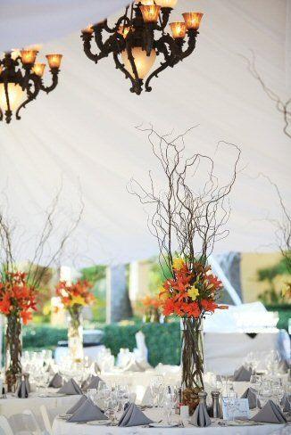 Fall Modern Rustic Burgundy Orange Yellow Centerpiece Wedding Flowers Photos & Pictures - WeddingWire.com