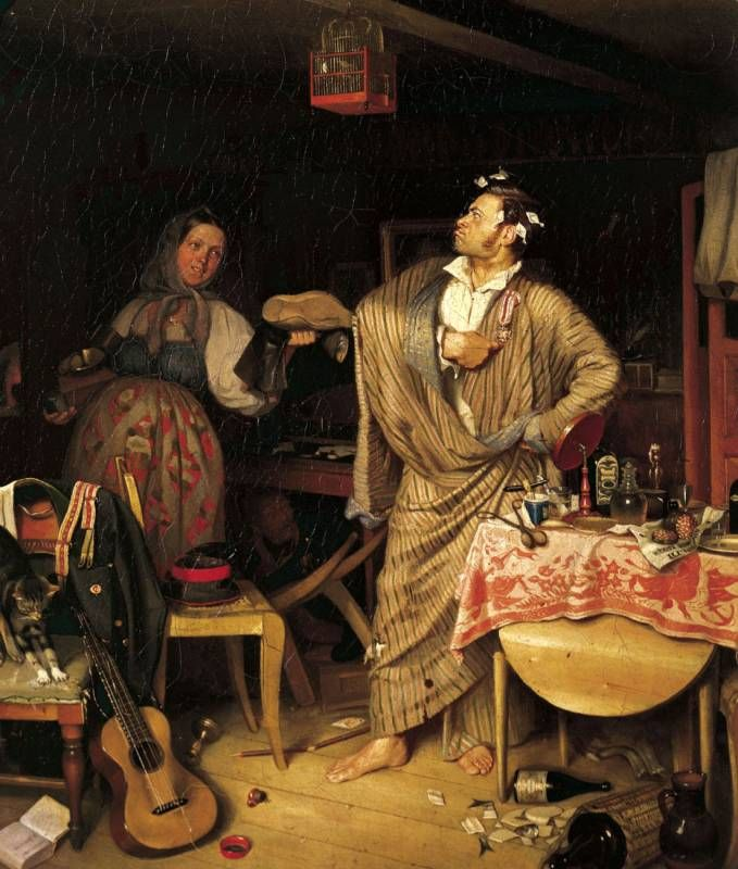 Павел Федотов (1815-1852) - «Свежий кавалер». Утро чиновника, получившего первый крестик. 1848.