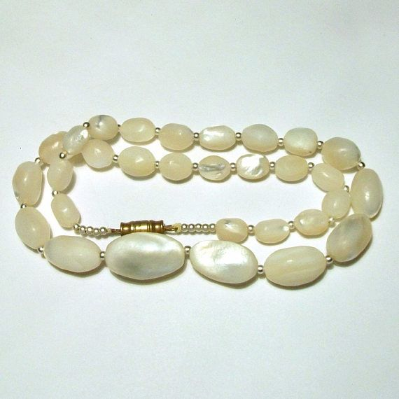 Art Deco Mother Of Pearl Bead Necklace Vintage Hand Carved Shell Beaded Iridescent White