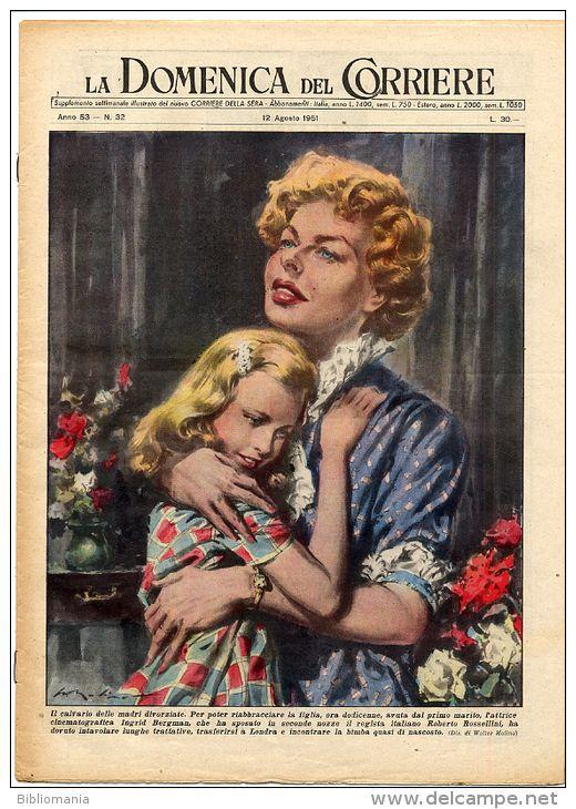 La domenica del Corriere in copertina Ingrid  Bergam 1951