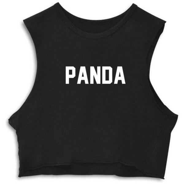 PANDA [CROP MUSCLE TANK] ($48) ❤ liked on Polyvore featuring tops, crop tank, muscle tank, crop top, crop tank top and cropped muscle tank