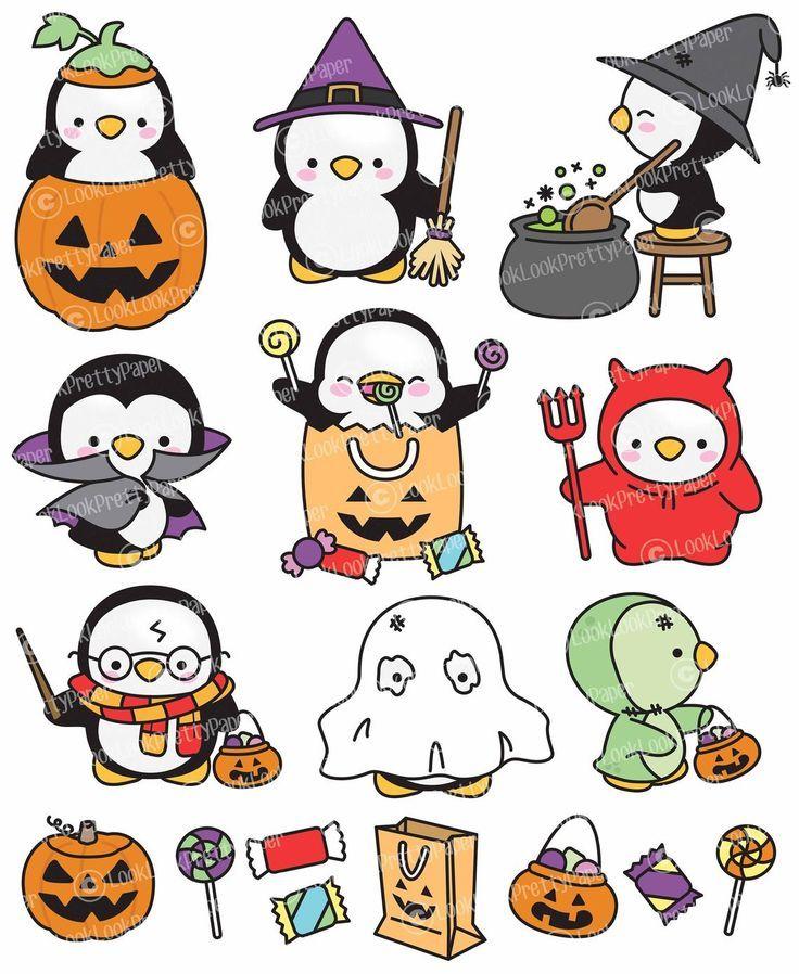 Premium Vector Clipart Kawaii Halloween Penguins Cute Etsy In 2021 Kawaii Halloween Cute Halloween Drawings Halloween Clipart
