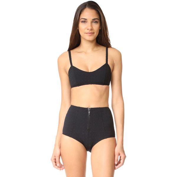 Lisa Marie Fernandez Genevieve High Waist Bikini ($400) ❤ liked on Polyvore featuring swimwear, bikinis, black seersucker, bikini beachwear, striped high waisted bikini, lisa marie fernandez, striped bikini and bikini two piece