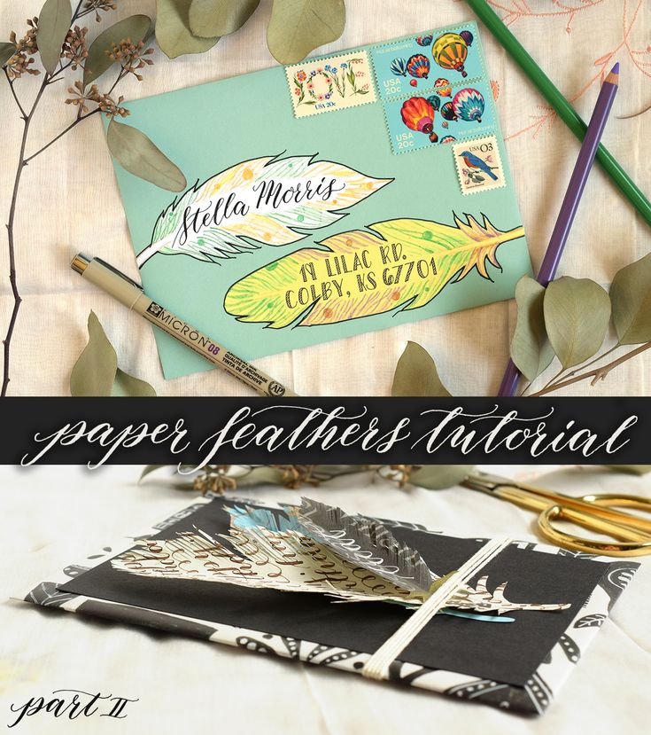 Paper Feathers Tutorial Part II | The Postman's Knock :: This tutorial concludes the two-part paper feathers series on thepostmansknock.com. In this post, you'll learn how to make eclectic gift tags and creative mail art!