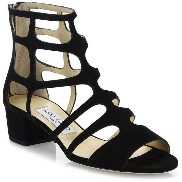 Jimmy Choo Women's Ren Caged Suede Block-Heel Sandals ($850) ❤ liked on Polyvore featuring shoes, sandals, black, heeled sandals, block-heel sandals, black block heel sandals, block heel shoes and caged heel sandals