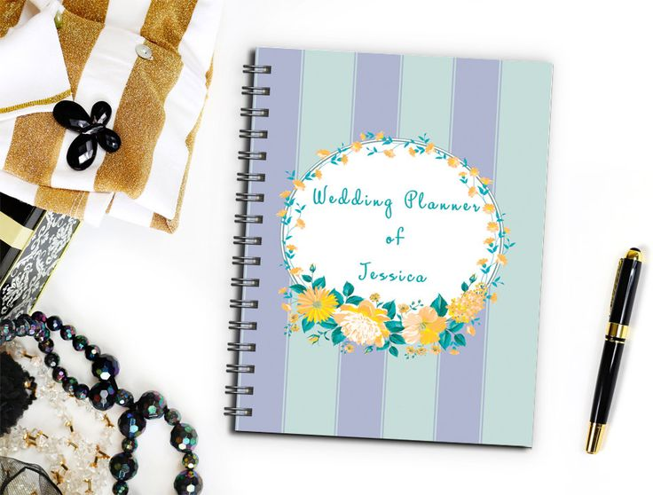 Beautiful Rustic Floral Wedding Planner Book for Bride, Perfect Engagement Gift for the Bride to Be, Maid of Honor Wedding Planner Notebook by TwoCrewDesign on Etsy