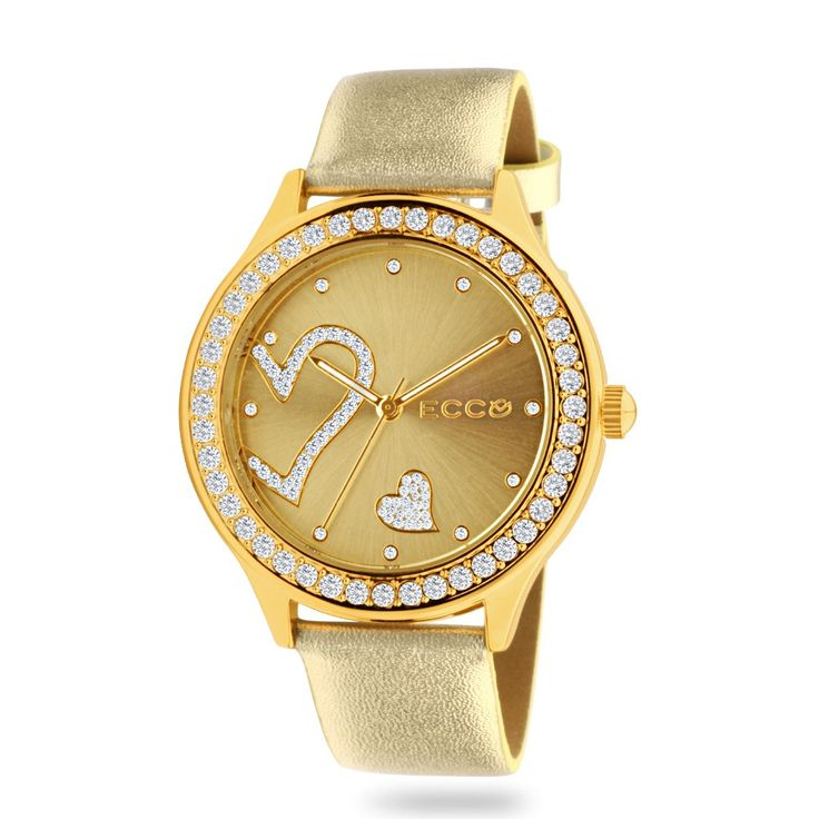 ECC Ladies Stone Set Heart Gold Leather Strap Watch