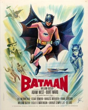 Batman 1966 France - original vintage movie poster for the classic superhero film Batman adapted from the DC Comics character, directed by Leslie H. Martinson and starring Adam West in the lead role with Burt Ward as Robin and Lee Meriwether, Cesar Romero, Burgess Meredith and Frank Gorshin listed on AntikBar.co.uk