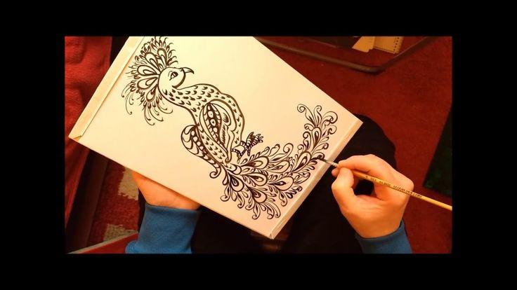 Как рисовать павлина красками.