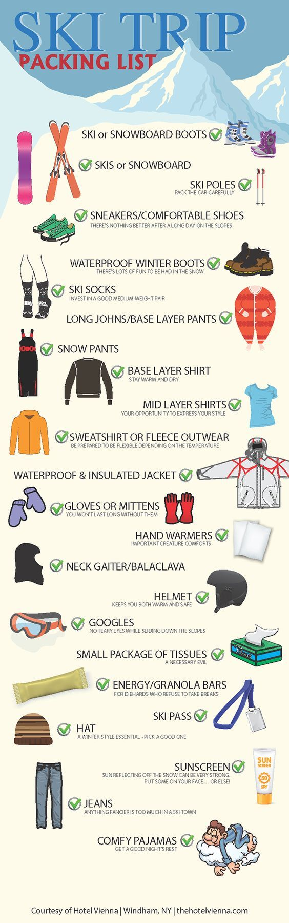 P I N T E R E S T: Kgsobott ✨ ❄️     -  Pretty simple yet effective packing list for your average visit to a #ski #resort during winter.