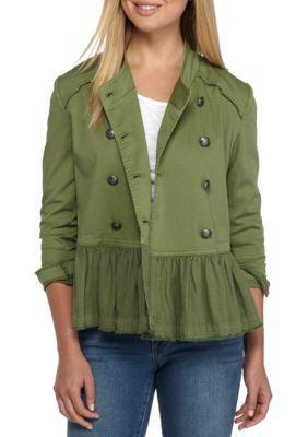 Crown & Ivy™ Women's Petite Peplum Military Jacket - Olive Tree - Pxl