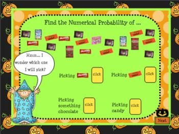 SMARTBoard Halloween Probability Lesson for Grades 3-5: This 2-day lesson is all treat and no trick! Includes 7 page worksheet packet to accompany the interactive SB file. Teaches both likelihood line and numerical probability. Save over 40%: was $3.50, now only $2.