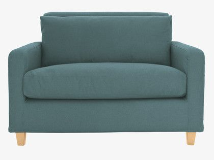 CHESTER Teal blue fabric compact sofa, oak stained feet