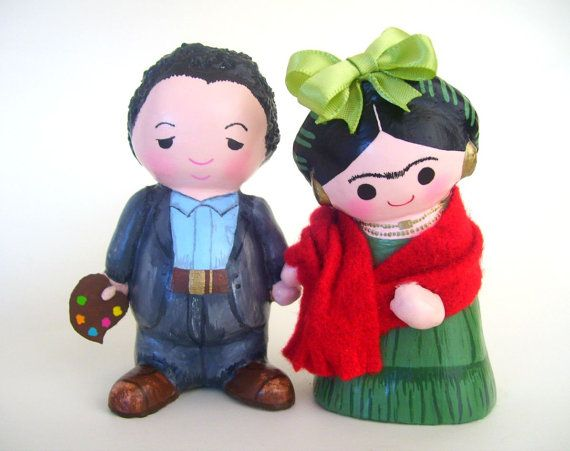 Frida Kahlo and Diego Rivera Paper Mache Dolls by AmericaP on Etsy