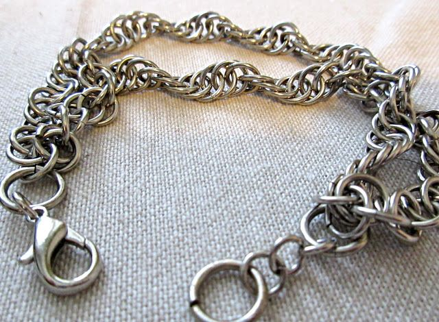 A chainmaille DNA bracelet in base metal (Cu/Zn/Ni). Great, unique gift for biologist or geneticist.