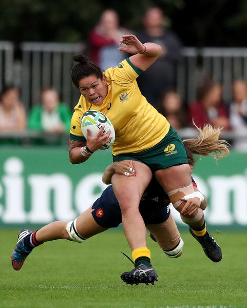 Sharni Williams of Australia is tackled by Marjorie Mayans of France during the Women's Rugby World Cup 2017 match between France and Australia on August 13, 2017 in Dublin, Ireland.