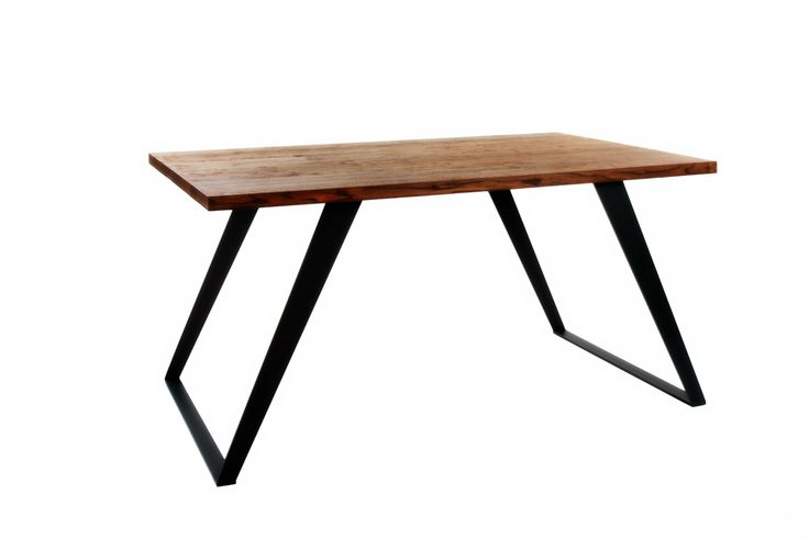 Large dining table with industrial steel base and oak wood 'Due Gamba' by KureliDesign on Etsy