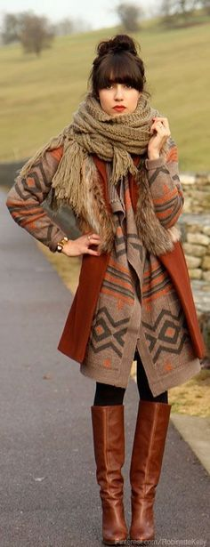 Cozy Fall Outfit Ideas - oversized chevron type warm cardigans, brown blazer, over the knee boots, adorable winter scarf, perfect winter outfits