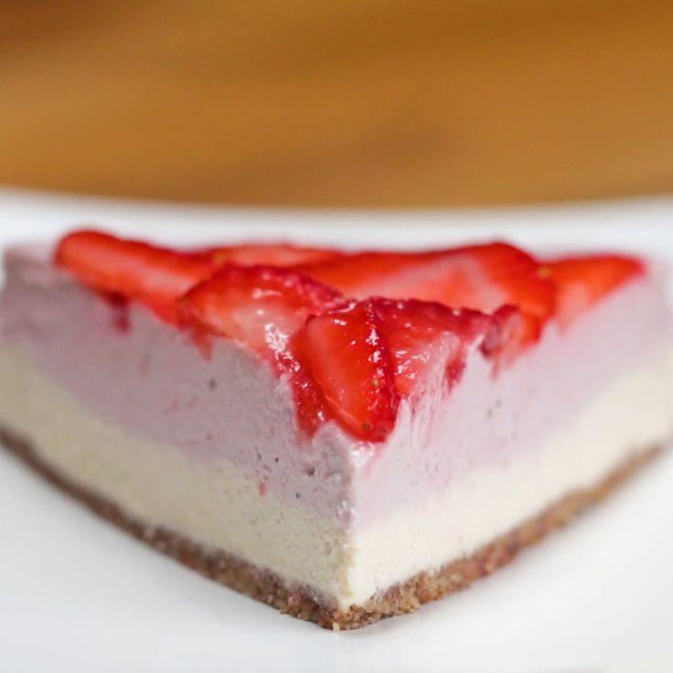 Dairy-free Strawberry Cheesecake by Tasty