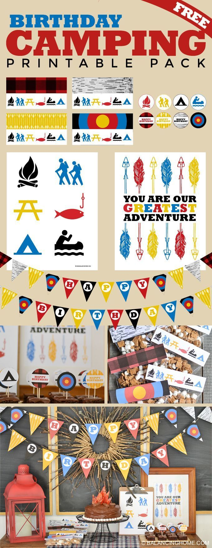 Camping Birthday Party Printables 210 best Free