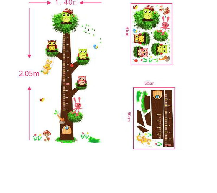 Owl Tree Pattern Height Ruler Wall Sticker Multicolor.  Fashionable with passion REPIN if you like it.😍 Only 180 IDR