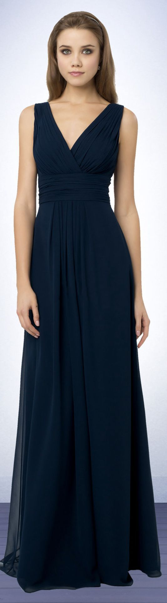 Empire Floor-length Deep V-neck Chiffon Sleeveless Bridesmaid Dresses