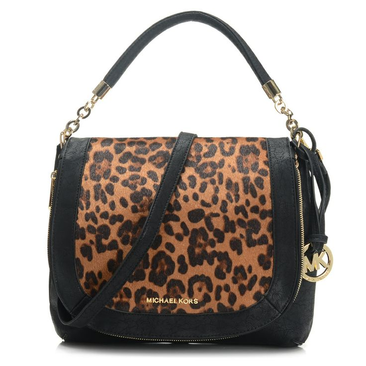 Cheap Michael Kors Stanthorpe Leopard Medium Black Shoulder Bags, Perfect  You