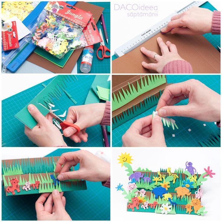 DACOideea săptămânii - În junglă. Materiale: Jungla, Flu-Flu glitter, Țestoasete, Luminători, Pătrățele, Carton Color Asortat, Hârtie Gumată, Creion, Trimmer A4, Silipici, Placă de biguire multifuncțională, Foarfecă grădiniță, Planșetă tăiere A3. TUTORIAL VIDEO: https://youtu.be/gYIPWQP4y8k. Produsele sunt disponibile pe http://www.dacomag.ro.