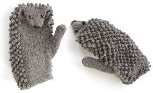 How to Knit Hedgehog Mittens ~ silly as mittens, would be a cute puppet gift to a lucky kiddo!