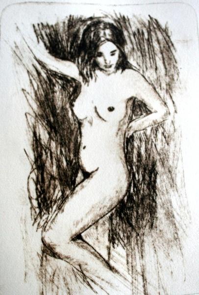 Nude standing: perspex etching