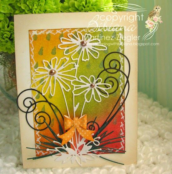 By stamping with Bibiana: fall daisies card using daisies die and raindrops stencil from Memory Box. details at my blog