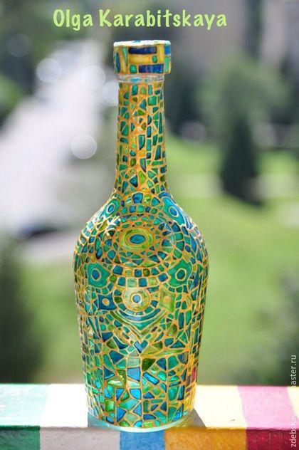 Декоративная посуда ручной работы. Ярмарка Мастеров - ручная работа. Купить Солнце в зеленой бутылке.. Handmade. Зеленый, бутылка