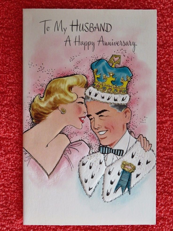 wedding anniversary card pictures%0A Vintage Wedding Anniversary Card UNUSED Glitter Lady Pink Dress Man w  Crown