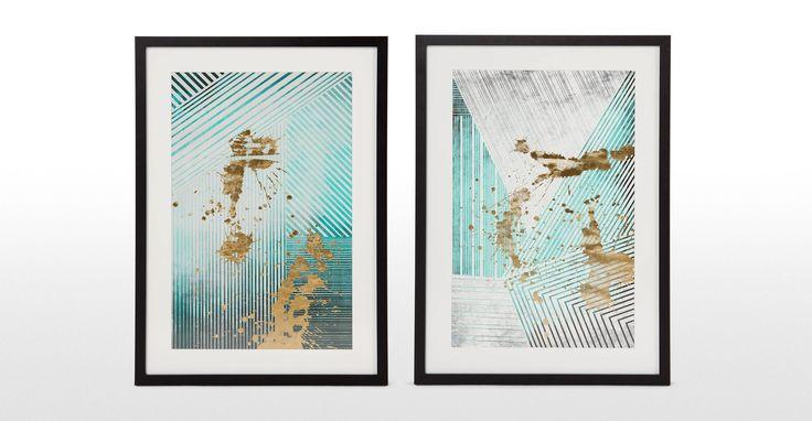 Aurelia Shapes Framed Print, Mineral Green and Gold | made.com