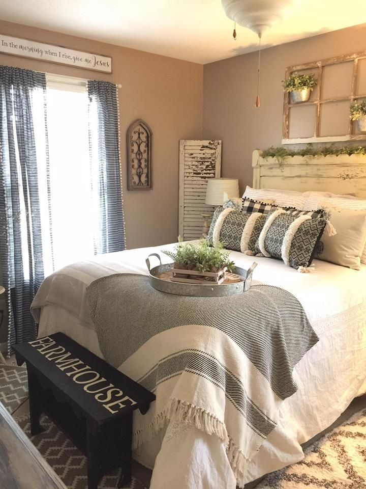 Beautiful Neutral Colors For A Master Bedroom Creates A Calm And Peaceful Space For Farmhouse Bedroom Furniture Master Bedrooms Decor Farmhouse Master Bedroom