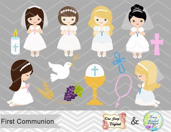 Niñas primera comunión Digital Clip Art primera comunion Clip Art, Clipart Digital de primera comunión niñas, niña primera comunión Clip Art, 0189