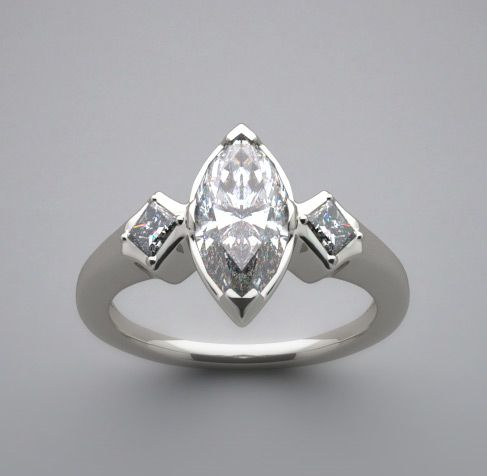 marquise diamond ring settings | UNUSUAL MODERN MARQUISE SHAPE AND PRINCESS CUT DIAMOND RING SETTING