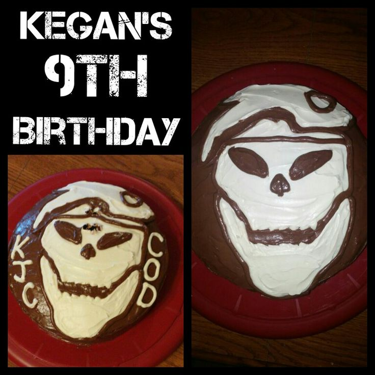 "Kegan's 9th birthday. Triple chocolate Call of Duty layer cake with milk chocolate icing and chocolate sprinkles in between layers. Covered in milk chocolate icing with cream cheese icing forming the Call of Duty skull. ""Bullet hole"" in between the eyes courtesy of the #9 candle!"