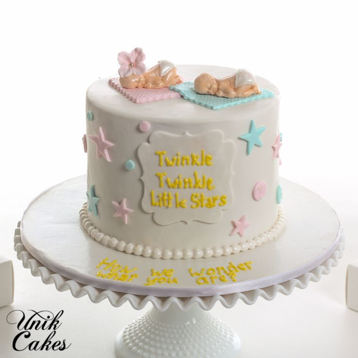 Twins gender reveal cake and cake pops