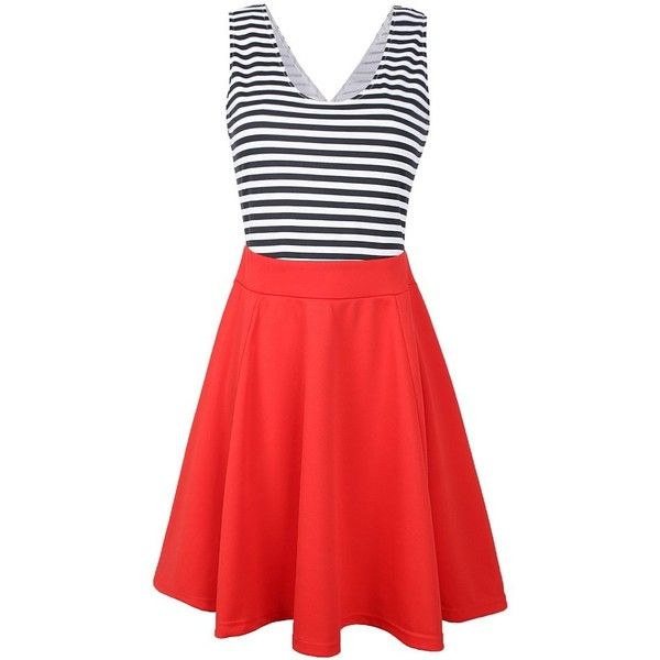 Partiss Women Summer Top Blouse Slim Fit Stripe Casual Cocktail Mini... ($10) ❤ liked on Polyvore featuring dresses, special occasion dresses, red dress, striped dresses, red summer dress and mini dress