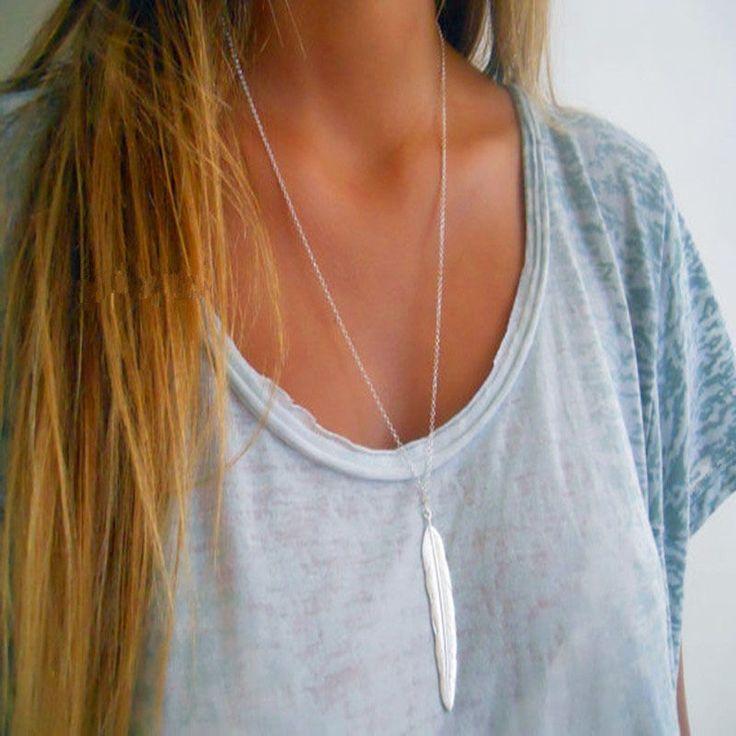 Halskette Anhänger Feder silber Modeschmuck Damen Geschenk Schmuck Kette günstig