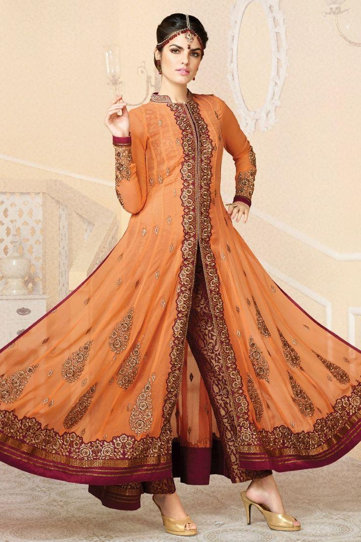 Orange and Dark Red Faux Georgette Anarkali Suit Online Shopping-Z3036PPRJ1449-81