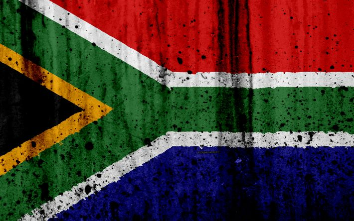 Download wallpapers South African flag, 4k, grunge, flag of South Africa, Africa, South Africa, national symbols, South Africa national flag