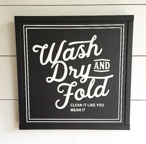 wash dry & fold, painted wood sign | modern farmhouse fixer upper wall decor free shipping (aff link)
